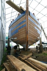Oyster Skiff Halcyon - Restoration including hull planking, new stem and counter