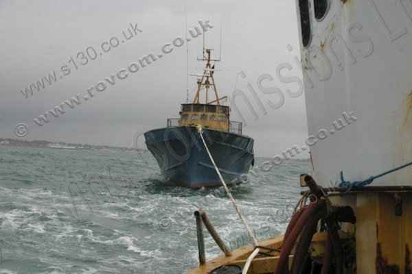 S130 Donor Boat - Under tow heading away from the Solent